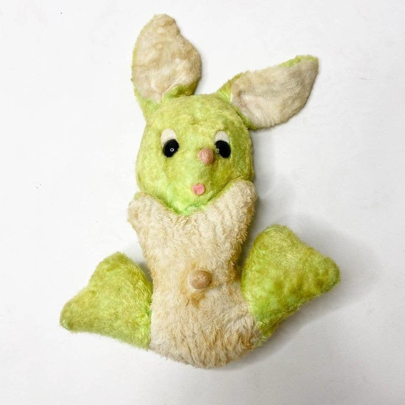 Vintage Wind Up Musical Rabbit Plush Doll Toy